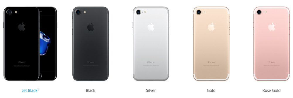 iPhone 7 kleuren (Jet Black, Black, Silver, Gold, Rose Gold)